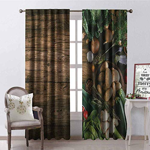 GloriaJohnson Harvest Heat Insulation Curtain Various Vegetables on Rustic Wooden Table Onions Potatoes Zucchini Cherry Tomatoes for Living Room or Bedroom W100 x L84 Inch Brown Green