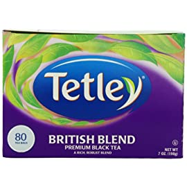 Tetley British Blend Premium Black, 80-Count Tea Bags, 7 Ounce, (Pack of 6) 66 A full bodied, rich, and invigorating blend of Kenyan and Assam teas for an authentic English breakfast cuppa Be it full English or a slice of toast, our British Blend is the perfect tea to accompany your hearty breakfast Deliciously rich and robust premium black tea blend that's perfect hot or iced