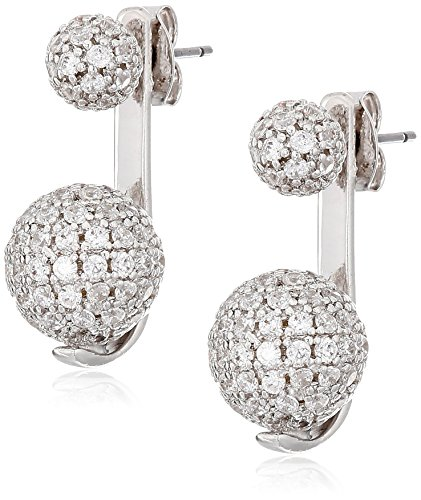 nOir Jewelry Rhodium Pave Sphere Earrings Jackets - Pave Sphere