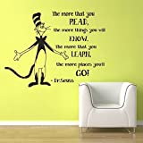 """Wall Decal Decor Dr Seuss Wall Decal Quotes - The More That You Read - Dr Seuss Nursery Kids Wall Art Vinyl Lettering Classroom Decor(Black, 17""""h x22""""w)"""