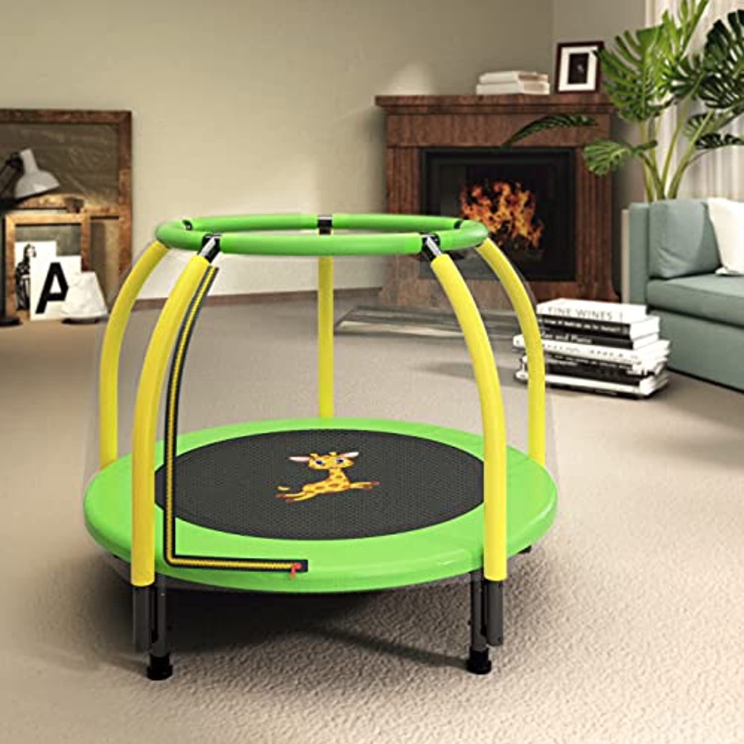 Gardenature 4 FT Kids Trampoline with Safety Enclosure Net, Spring Pad, Zipper, Mini Trampoline for Kids Indoor/Outdoor,Yellow and Green-4 FT