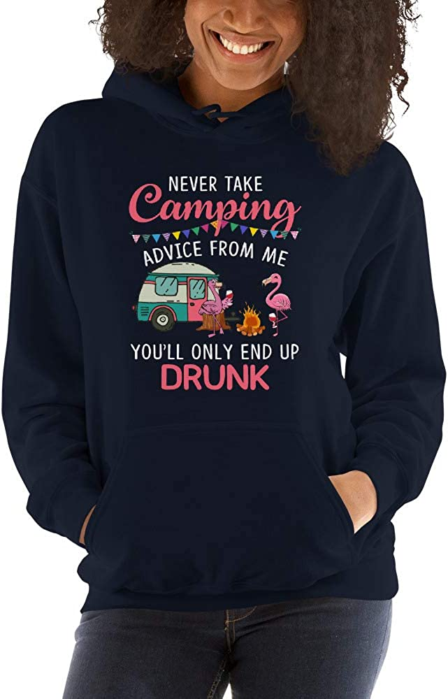 Flamingo Youll Only End Up Drunk Camping Unisex Hoodie