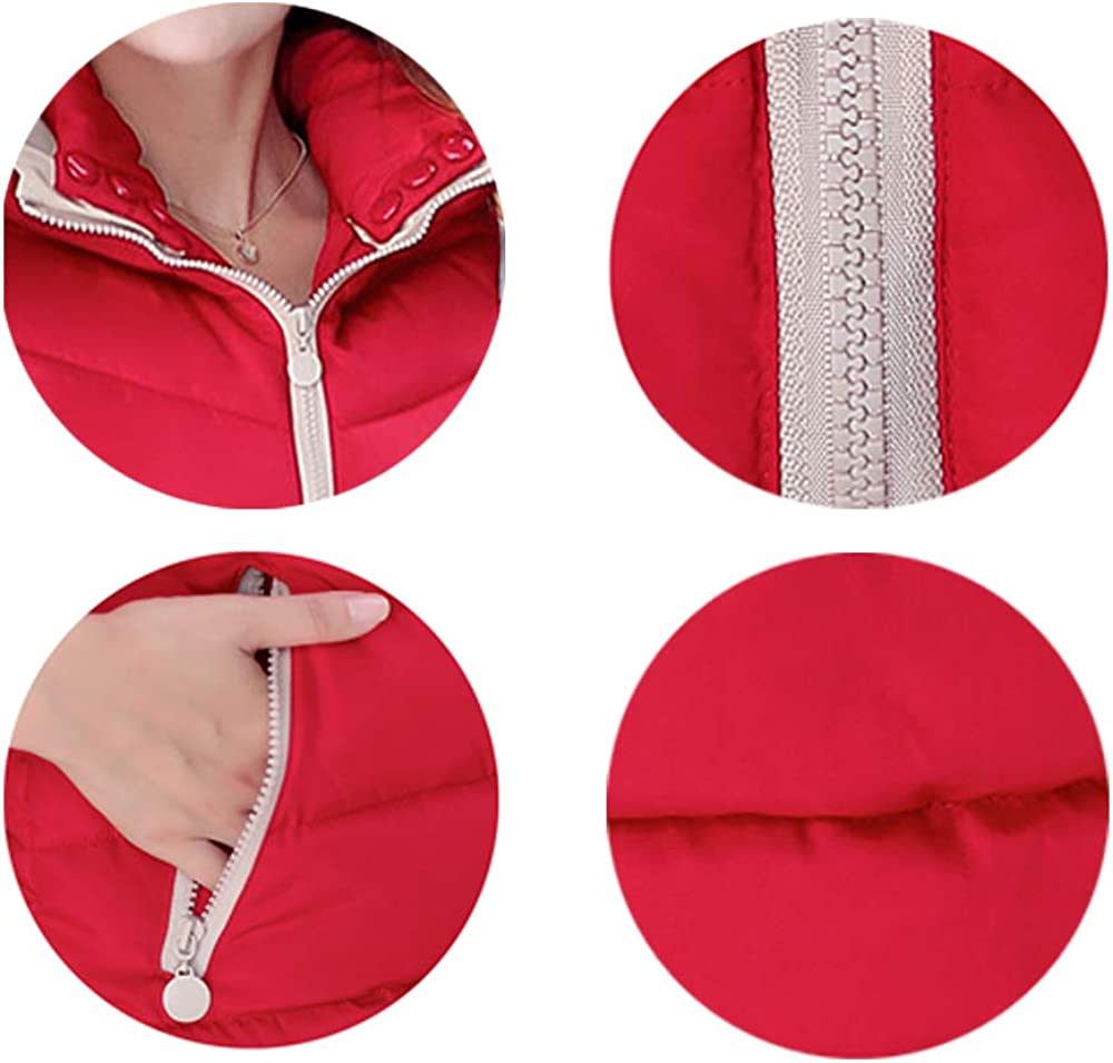 Autumn and Winter Large Size Hooded Thick Down Cotton Gilet BOZEVON Vest Women