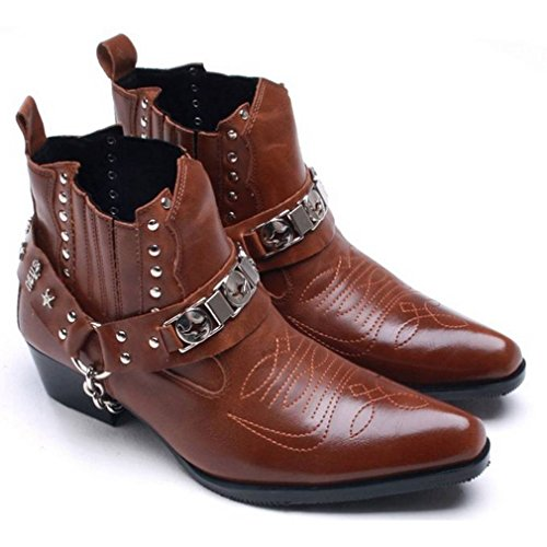 4f75df0552f1 EpicStep Men's Leather Shoes Riding Biking Motorcycle Studded Chain ...
