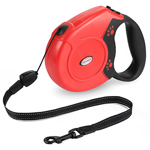 Retractable Dog Leash, Trèsutopia 26-Feet Dog Leash Pet Lead for Small Medium Large Dogs up to 110lbs, One Button Break & Lock with Reflective Belt (Red)