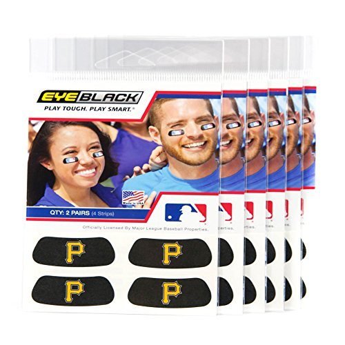 (24 Strips) Eye Black - Pittsburgh Pirates MLB Eye Black Anti Glare Strips, Great for Fans & Athletes on Game Day]()