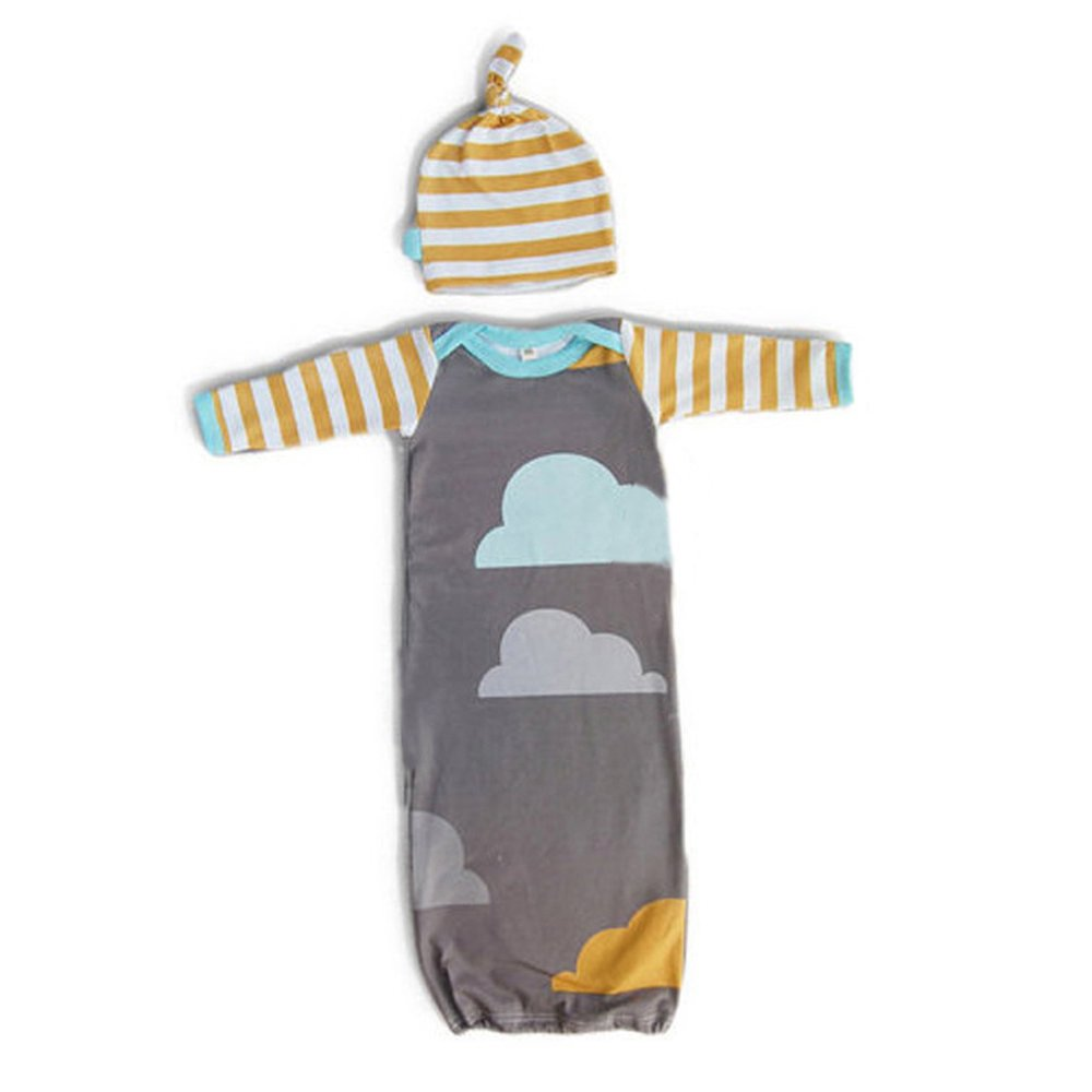 GSHOOTS Infant Baby Swaddle Sleep Gown Sleeping Sack Bag with Hat (Cloud)