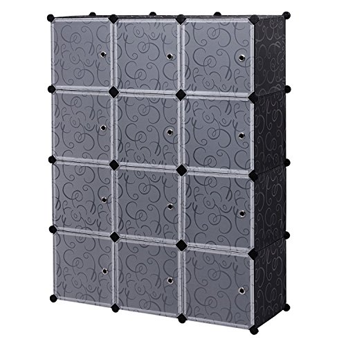 12 Cube Closet Organizer, Garage Storage Racks Sets, Shelf Cabinet, Panels and Units for Books, Plants, Toys, Shoes, Clothes, for Bedroom & Living Room (Black) (Closet Options)