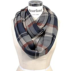 Scarfand Plaid Tartan Checker Block Infinity Scarf (Plaid Navy)