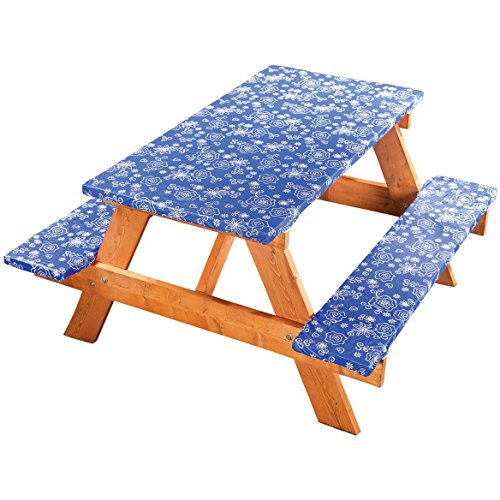 Covers For The Home Elastic Picnic Table Cover 3 Piece Set - Tonal Line Work Pattern - Blue - Dress up Any Picnic Table and Benches!!! (Benches Picnic Duty Heavy)