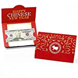 Big Dot of Happiness Chinese New Year - Money Holder Cards - 2019 Chinese New Year Gift with Red Envelope Design - Set of 8
