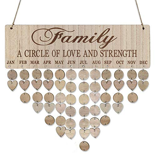 Christmas Best Gift!!!!Kacowpper Family Birthday Board Plaque DIY Hanging Wooden Birthday Reminder Calendar -