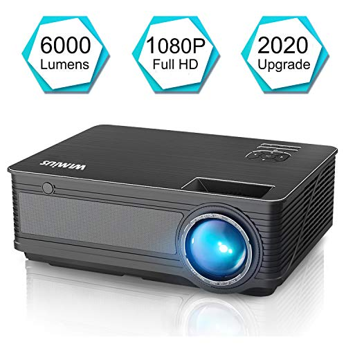 WiMiUS 2021 Upgrade P18 8000L LED Movie Projector Native 1080P Support 4K 400″ Compatible with Wifi Dongle Bluetooth Transmitter Amazon Fire TV Stick Laptop iPhone Android Xbox PS4 Via HDMI USB VGA AV