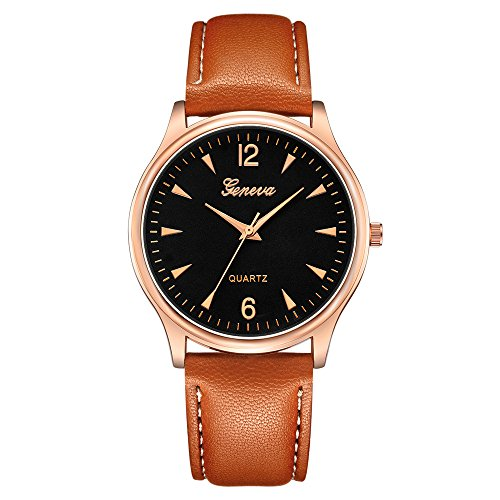 POTO Men Watches On Sale Clearance,Luxury Fashion Faux Leather Band Quartz Analog Alloy Dress Wrist Watch Gift Watches (Brown+Gold)