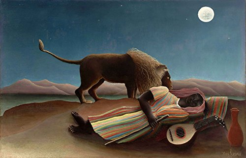 - The Sleeping Gypsy - (Artist: Henri Rousseau c. 1897) - Masterpiece Classic (12x18 Art Print, Wall Decor Travel Poster)