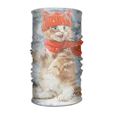 Cat In Winter Snow DIY Printed Headband Bandana Mask Sports Seamless Breathable Hair Band Turban For Workout, Fitness, Running, Cycling, Yoga