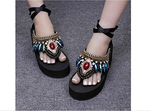 Beauqueen 2017 Summer Femmes à coudre à la main National Atmospheric Tongs Gem Diamonds Faux Retro Muffled Chaussons , 5cm with the national wind , 40