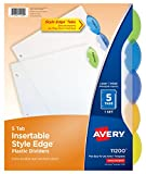Avery Insertable Style Edge Plastic Dividers, 5 Multicolor Tabs, Case Pack of 24 (11200)