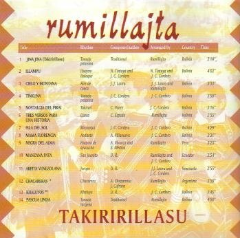 Takiririllasu: Andean Music from Bolivia by Rumillajta Recordings
