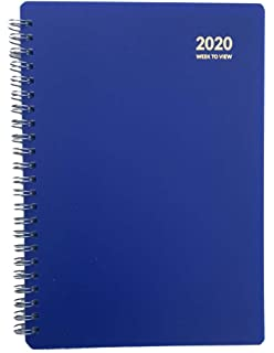 2020 A5 Week To View Spiral Bound Diary Hardback Wiro Cover Office School-Dots