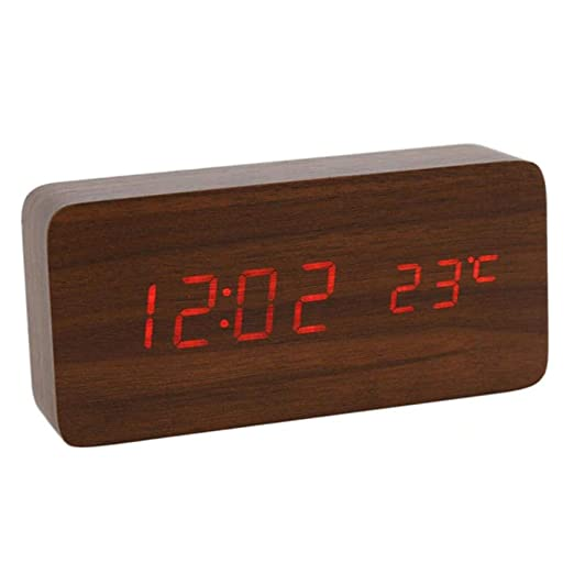 LED reloj despertador de madera reloj de mesa digital despertador ...
