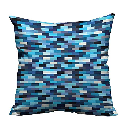Bold Big Border (YouXianHome Sofa Waist Cushion Cover Contemporary Geometric Design with Stripe Like Bold Borders in Blue Tones Decorative for Kids Adults(Double-Sided Printing) 20x20 inch)