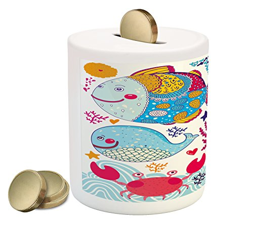 Fish Piggy Bank by Ambesonne, Fish Motifs with Ethnic Tribal Effects and Starfish Crab Dolphin Animals Boho Design, Printed Ceramic Coin Bank Money Box for Cash Saving, (Dolphin Motif)