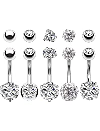 5PCS Belly Button Rings 14G Stainless Steel CZ Girl Women Navel 5 Replacement Balls Pack