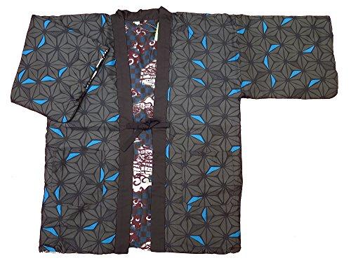 【마의 엽・charcoal 그레이】 일본 무늬면 들어감 반(半)고지 않겠 리버시블 남성용 프리 사이즈