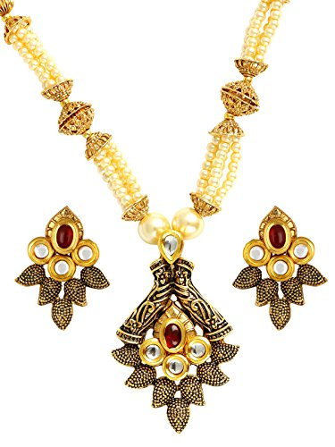 The Jewelbox Traditional Antique Kundan Red Pearl Meenakari 22K Gold Earring Necklace Set Girls Women ()