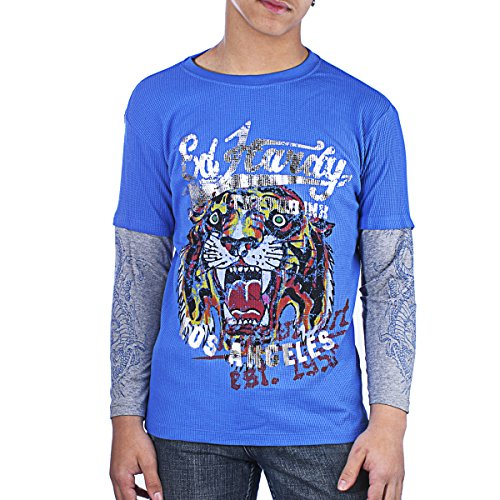 Ed Hardy Kids Tiger Thermal Long Sleeve T-Shirt -Cobalt - X-Large