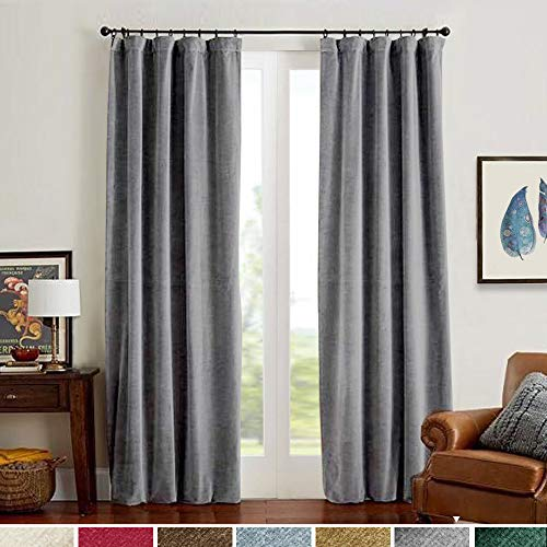 Velvet Curtains 95 inch Long Grey Room Darkening Gray for Bedroom Thermal Insulated & Moderate Window Curtain for Living Room Rod Pocket Single Width