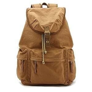 Yimidear Canvas DSLR SLR Camera Backpack Rucksack Bag With Waterproof Cover And Inner Tank Bag 46cm x 33cm x 15cm (Khaki)