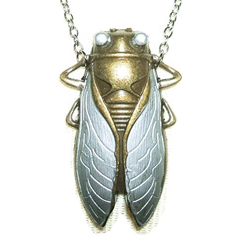 CICADA Necklace SILVER Color Wings Egyptian Revival Gold Plt Good Luck Symbol