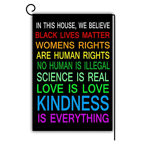 Artsbaba Human Rights Garden Flag Decorative House Yard Flag Double Sided Flags Outdoors Lawn Weatherproof Polyester Fabric 12 inch x 18 inch - in This House, We Believe Black Lives Matter