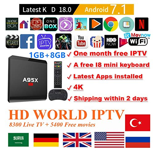 Android 7.1 TV Box TTV BoxSmart TV Box Media Player 1GB 8GB A95X R1 Support USB 3.0 2.4GHz WiFi 3D 4K Full HD H.265 100M Ethernet +1 Month IPTV Subscription+ Mini Wireless Keyboard Remote