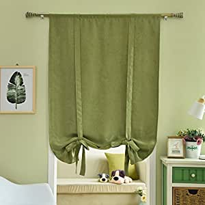 "Amazon.com: NAPEARL Balloon Shade Tie Up Window Curtain Rod Pocket (42""Wx63""L, Green): Home"