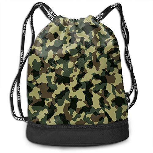 VRLGWDHD Camouflage Unisex 3D Digital Printed Sport Gym Drawstring Bags Cosmetic Bag with Straps for Hiking -