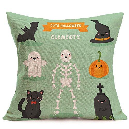 HomeMals Happy Halloween Pillow Covers Cotton Linen Black Cat Sofa Home Decor Throw Pillow Case Cushion Covers]()