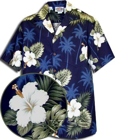 Pacific Legend Hawaiian Shirts Hibiscus Island in Navy 2XL (Island Hibiscus Hawaiian Shirt)