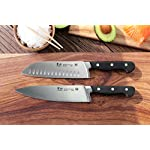 Cangshan Cutlery | V2 Series German Steel X50Cr15MoV Kitchen Knives 12 Classic handle with patent pending redesigned bolster Well balanced 5-inch handles and 8 and 7-Inch blades X50Cr15MoV German Steel with HRC 58 +/- 2 on the Rockwell Hardness Scale