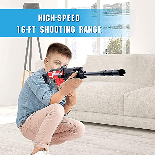 Electric Toy Gun for Nerf Gun Dart, AK47 Toy Rifle with 3 Burst Modes, 12 Shot Magazine+100 Foam Bullets Boy Toy Blaster, Motorised Snifer for Indoor Outdoor Game, Birthday Gift for Kids Teens Adults