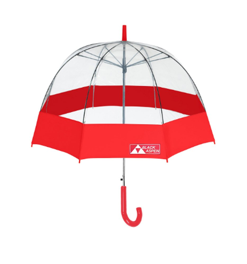 Black Aspen Bubble Umbrella - Large Dome Canopy, 52 Inch Coverage with Automatic Open - Transparent Canopy, RD