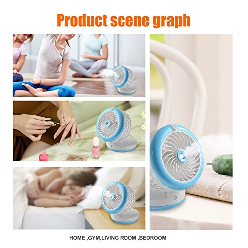 Cingk Personal Fan Cooling Misting Fan, Portable USB Rechargeable Fan, Power Bank, Table Desk Mini Humidifier, Multifunction 3 in 1, Blue by Cingk (Image #5)