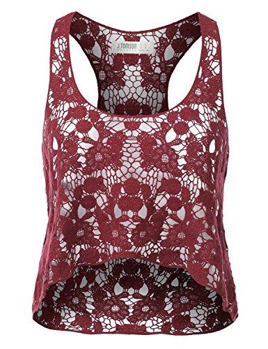 J.TOMSON Womens Sleeveless Crochet Tank Top w/ Fringe Detail BURGUNDY MEDIUM