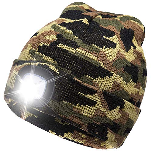 BO KAI LUN USB Rechargeable LED Beanie Cap, Lighting 4 LED Hands Free Flashlight, Easy Install Quick Release Headlamp Beanie, Unisex Winter Warmer Knit Cap Hat (Green Camouflage)