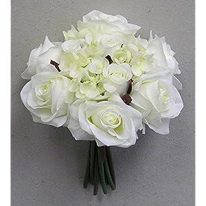 JenlyFavors Rose & Hydrangea Silk Flower Wedding Bouquet 65