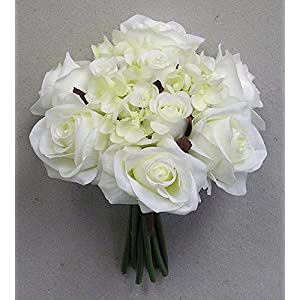 JenlyFavors Rose & Hydrangea Silk Flower Wedding Bouquet Cream 43