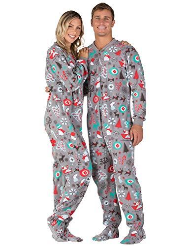 Footed Pajamas - Santas Village Adult Fleece Onesie Gray