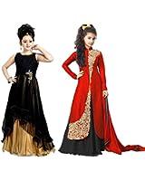Market Magic World Girl's Black & Red Banglori, Net Semi Stitched Combo Pack lehenga Choli, Salwar Suit, Gown (Kids Wear_Free Size_8-12 Year age)